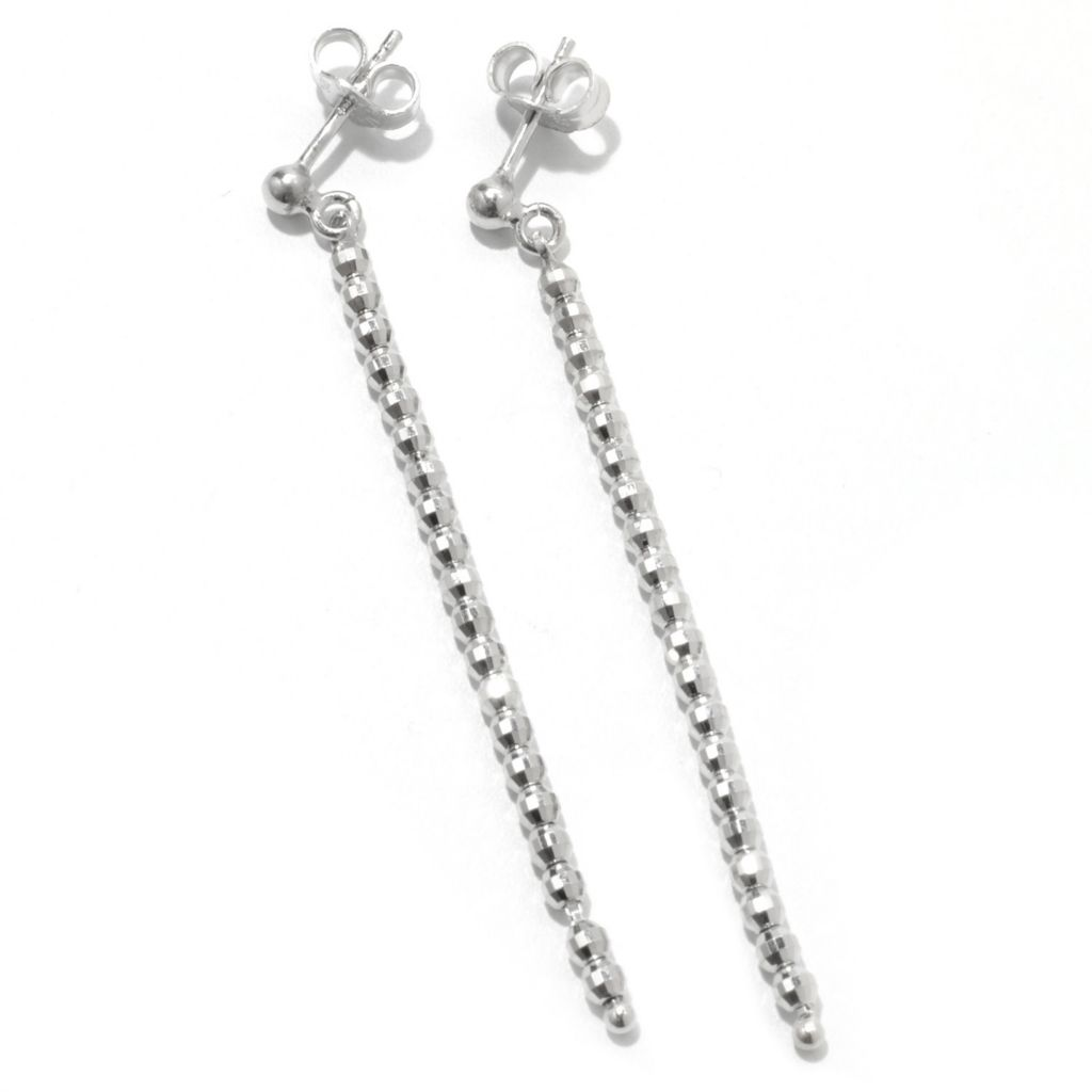 "130-663 - Palatino™ Platinum Embraced™ 2.25"" Diamond Cut Bead Drop Earrings"