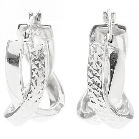 130-666 - Palatino™ Platinum Embraced™ Diamond Cut & High Polished Crossover Oval Hoop Earrings