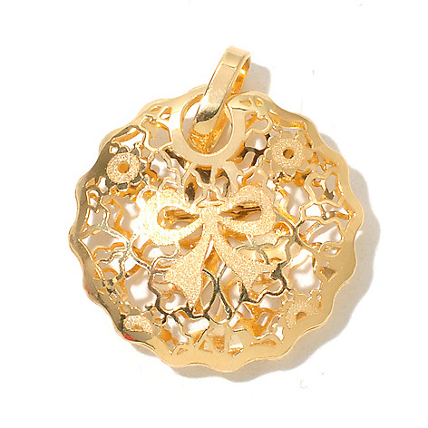 130-672 - Italian Designs with Stefano 14K Gold Ricami Design Round Pendant
