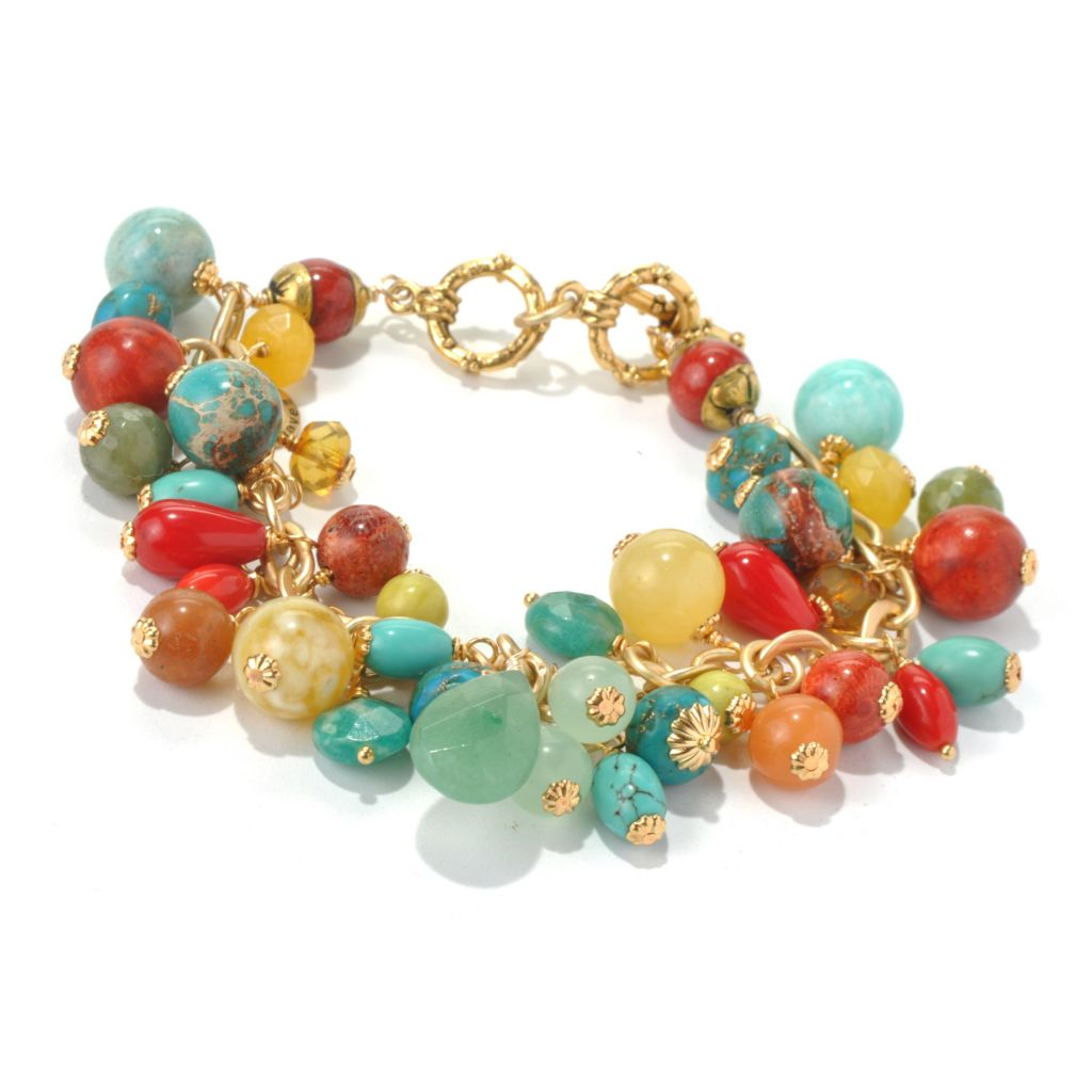 "130-677 - mariechavez 7.75"" Multi Gemstone Cluster Toggle Bracelet"