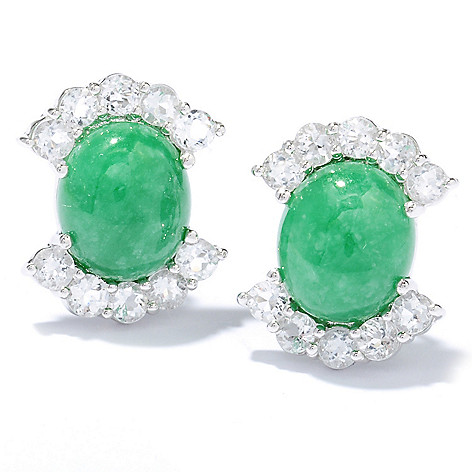 130-683 - Sterling Silver 12 x 10mm Oval Jade & White Topaz Earrings w/ Omega Backs