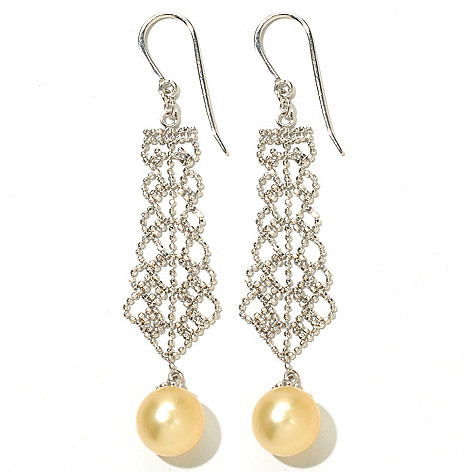 130-686 - Sterling Silver 9-10mm South Sea Cultured Pearl 2.75'' Filigree Dangle Earrings