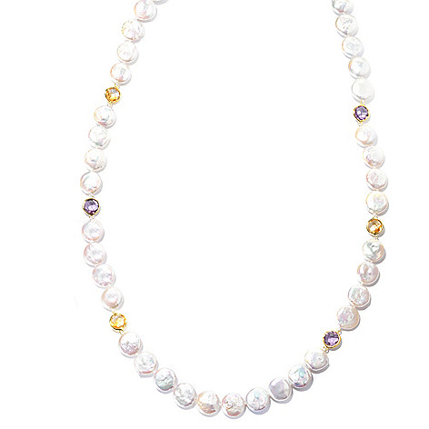 130-687 - 30'' 12-13mm Coin White Freshwater Cultured Pearl & Faceted Gemstone Endless Necklace