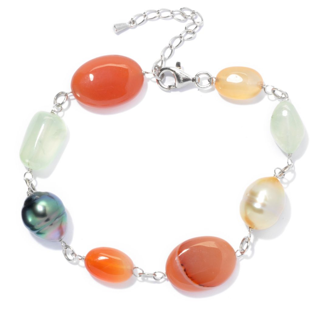 "130-692 - Sterling Silver 7.5"" 10-11mm Cultured Pearl & Multi Gemstone Bracelet"