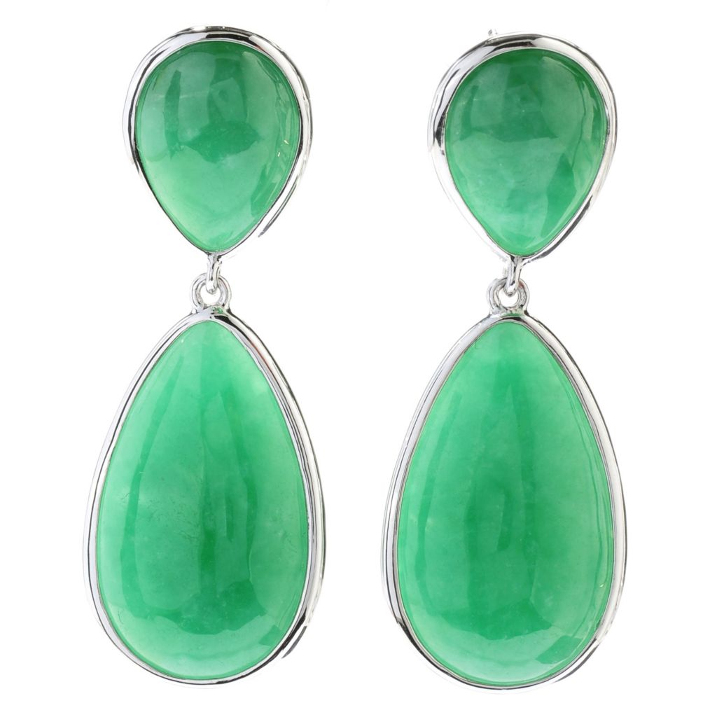 "130-695 - Sterling Silver 1.75"" Green Jade Double Pear Shaped Drop Earrings"