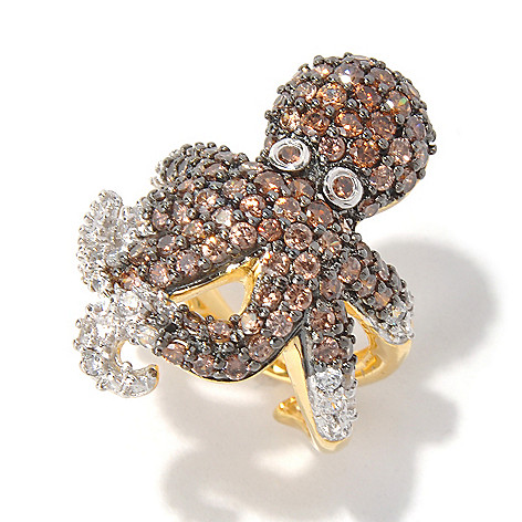 130-701 - Neda Behnam Gold Embraced™ 2.99 DEW Simulated Diamond Octopus Ring