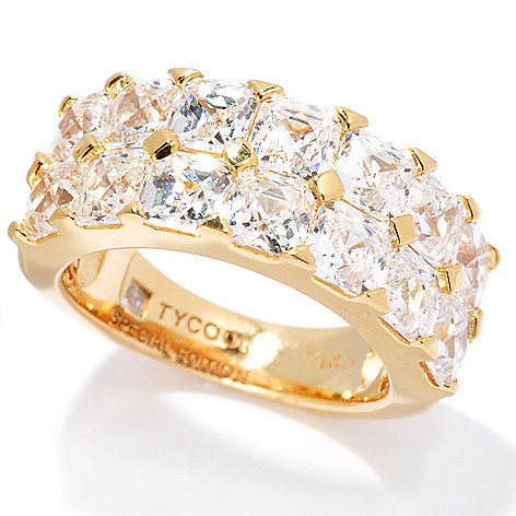 130-702 -  TYCOON 5.48 DEW Simulated Diamond Special Edition Two-Row Band Ring