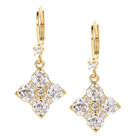 130-703 - TYCOON 1'' 3.12 DEW Royal TYCOON CUT Simulated Diamond Drop Earrings