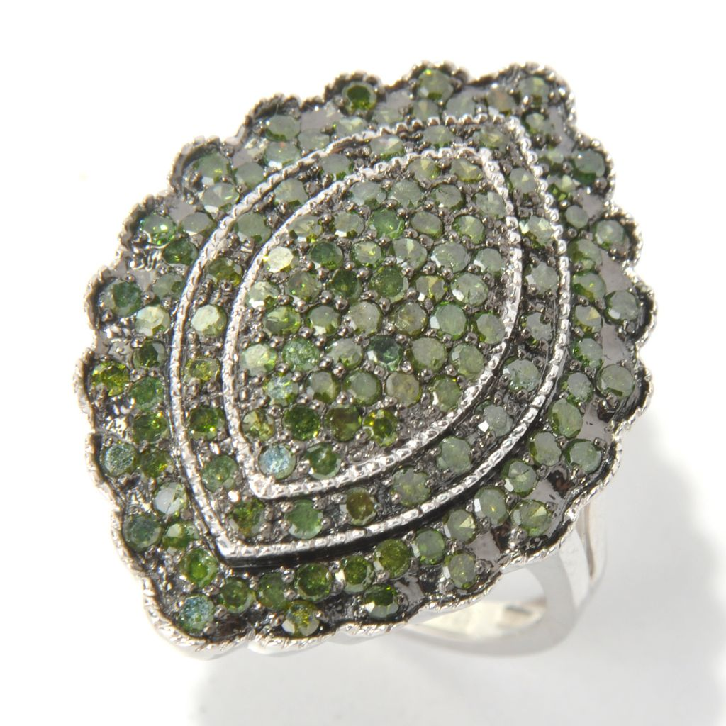 130-723 - Diamond Treasures Sterling Silver 1.48ctw Green Diamond Scalloped Marquise Ring