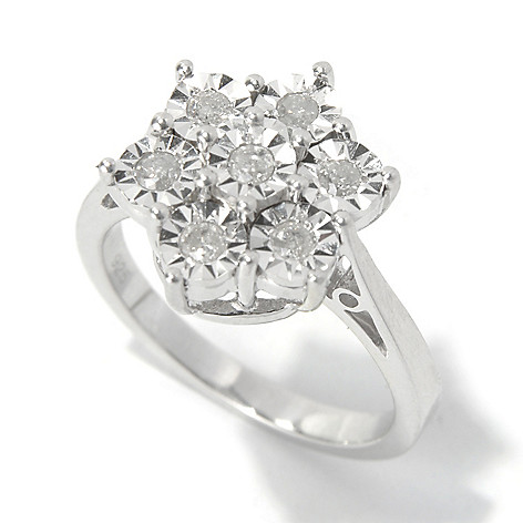 130-727 - Diamond Treasures Sterling Silver 0.25ctw Diamond Burnished Sunburst Flower Ring