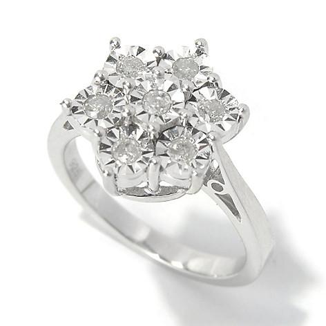 130-727 - Diamond Treasures Sterling Silver 0.25ctw Diamond Burnished Sunburst Flower Ring