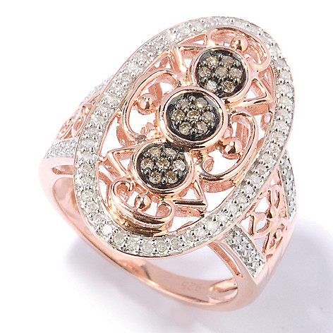 130-729 - 14K Rose Gold Embraced™ 0.35ctw Champagne & White Diamond Cut-out Oval Ring