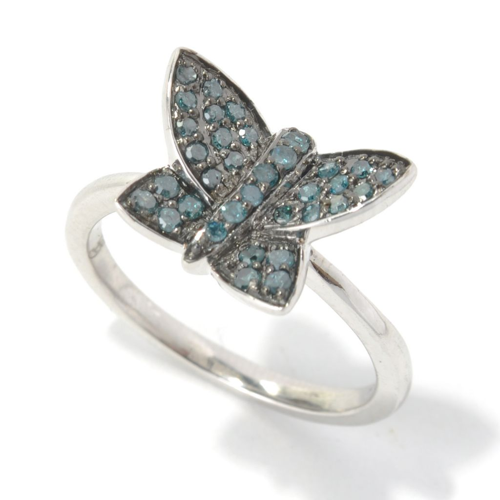 130-730 - Diamond Treasures Sterling Silver 0.30ctw Round Cut Blue Diamond Butterfly Ring