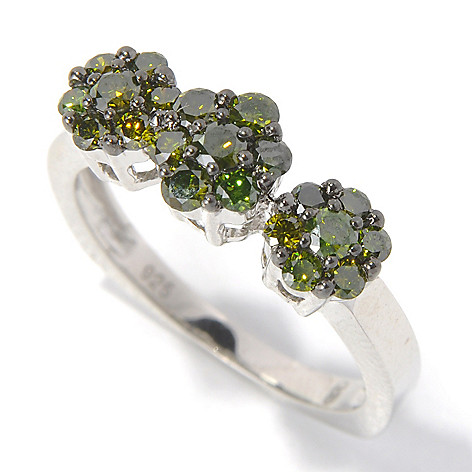 130-733 - Sterling Silver 0.75ctw Fancy Color Diamond Three-Station Floral Ring