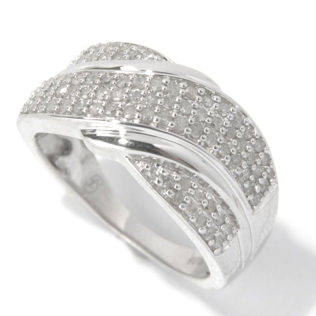 130-735 - Diamond Treasures Sterling Silver 0.50ctw Round Cut Diamond Wave Overlay Wide Ring