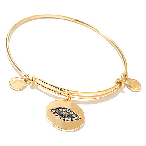 130-757 - Sonia Bitton Simulated Diamond Bangle Bracelet w/ Charm