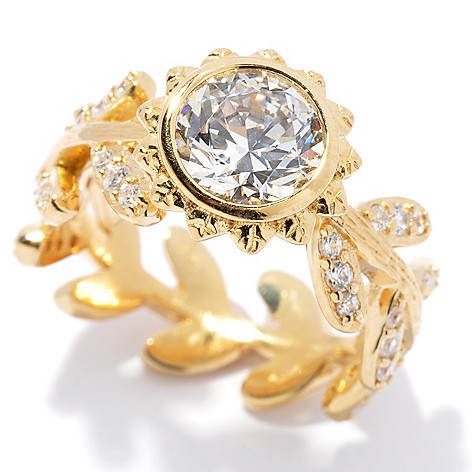130-760 - Brilliante® Gold Embraced™ 1.70 DEW Simulated Diamond Flower & Leaf Band Ring