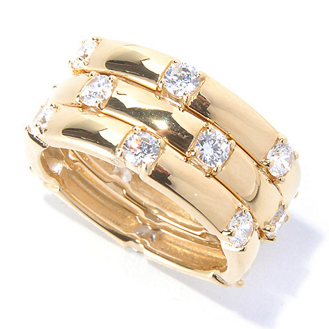 130-761 - Brilliante® 1.44 DEW Gold Embraced™ Simulated Diamond Three-Row Eternity Band Ring