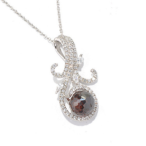 130-770 - Brilliante® Platinum Embraced™ 7.09 DEW Mocha & White Simulated Diamond Pendant w/ Chain