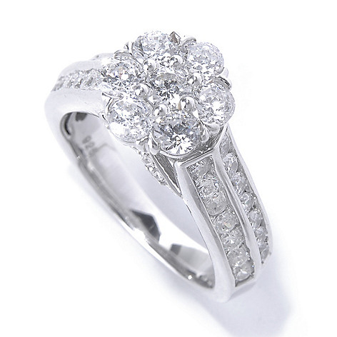 130-775 - Brilliante® 1.86 DEW Platinum Embraced™ Simulated Diamond Cluster Flower Two-Row Ring