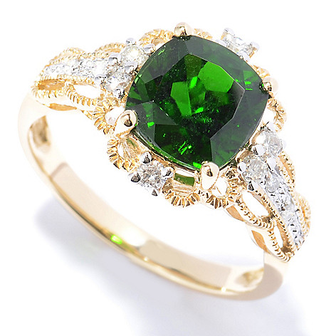 130-786 - Gem Treasures 14K Gold 2.40ctw Chrome Diopside & Diamond Twisted Border Ring