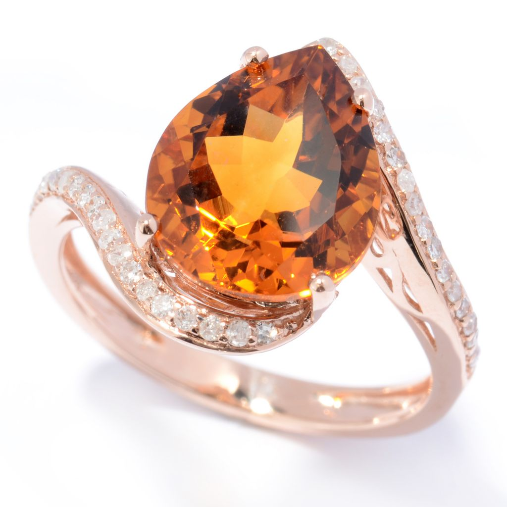 130-788 - Gem Treasures 14K Rose Gold 3.98ctw Madiera Citrine & Diamond Swirl Shank Ring