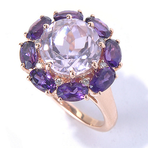 130-790 - Gem Treasures 14K Rose Gold 5.03ctw Kunzite, Amethyst & Diamond Halo Ring