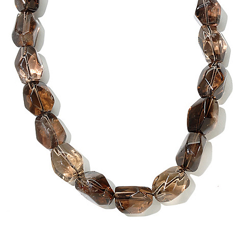 130-800 - Gem Treasures Sterling Silver 18'' Quartz Nugget Bead Necklace
