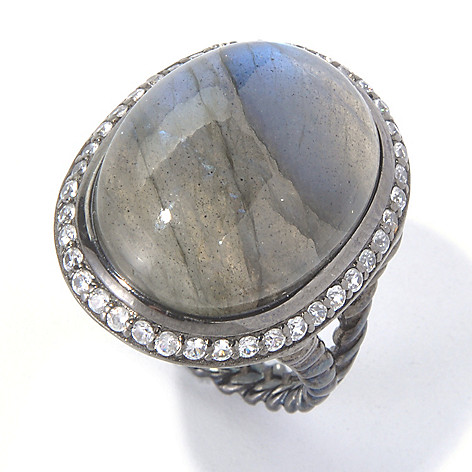 130-802 - Gem Insider Sterling Silver 20 x 15mm Gemstone & White Zircon Halo Ring