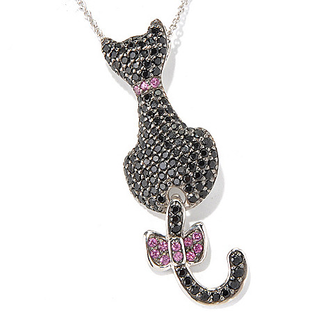 130-803 - NYC II 2.53ctw Black Spinel & Rhodolite Swinging Tail Cat Pendant/Pin