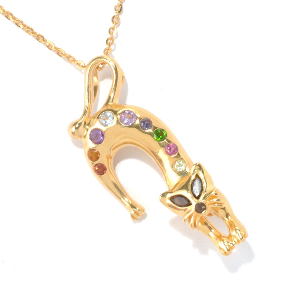 "130-806 - NYC II Multi Gemstone Cat Pin/Pendant w/ 18"" Chain"