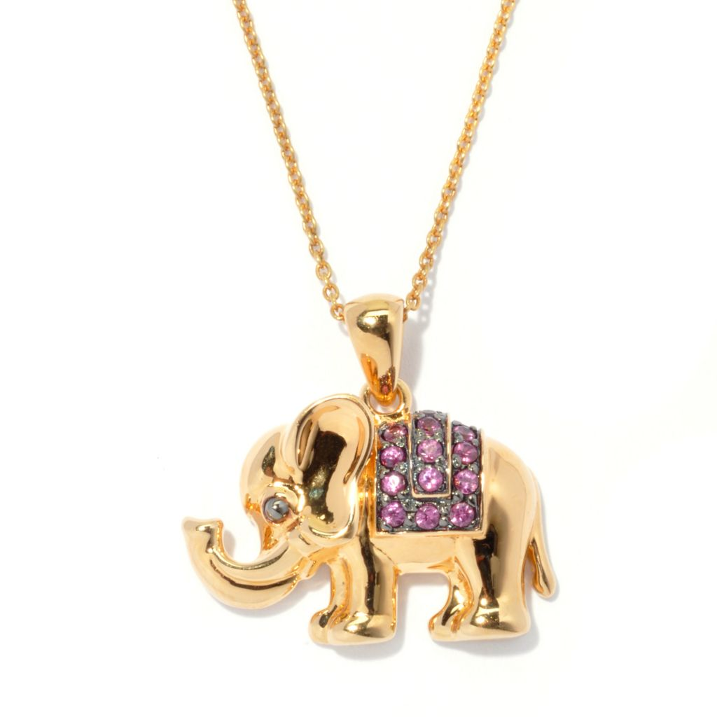 "130-808 - NYC II Exotic Gemstone Elephant Pendant w/ 18"" Chain"