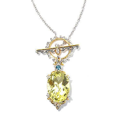 130-815 - Gems en Vogue 20'' Ouro Verde, London Blue Topaz & White Sapphire Toggle Necklace