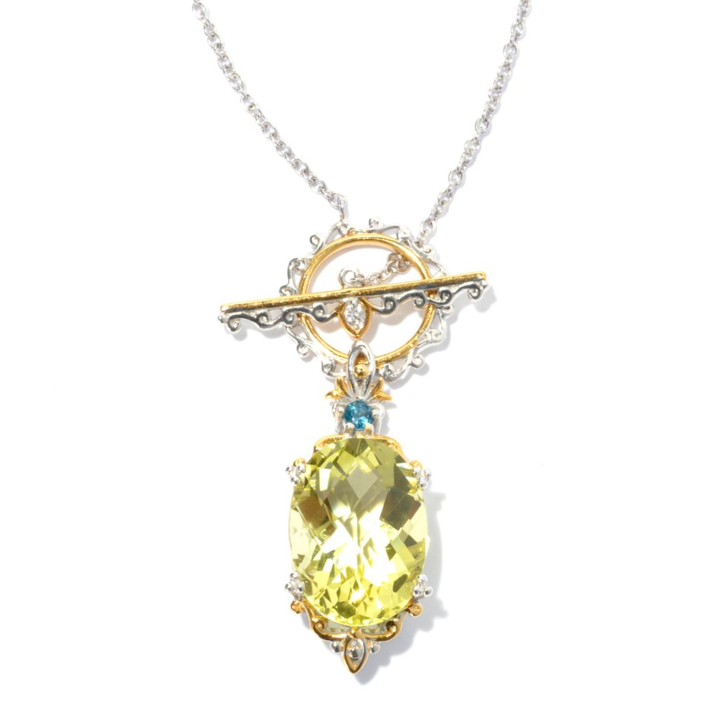 "130-815 - Gems en Vogue II 20"" Ouro Verde, London Blue Topaz & White Sapphire Toggle Necklace"
