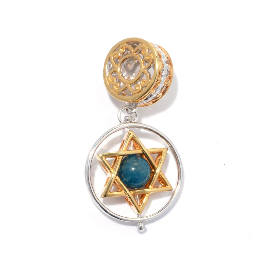 130-816 - Gems en Vogue Apatite Bead Star of David Spin Drop Charm