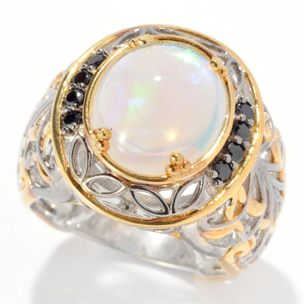 130-818 - Gems en Vogue II 12 x 10mm Ethiopian Opal & Black Spinel Ring