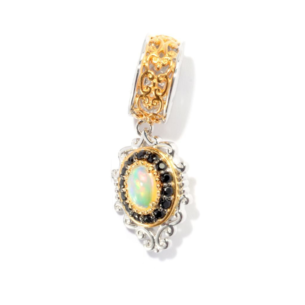 130-819 - Gems en Vogue 6 x 4mm Ethiopian Opal & Black Spinel Slide-on Charm