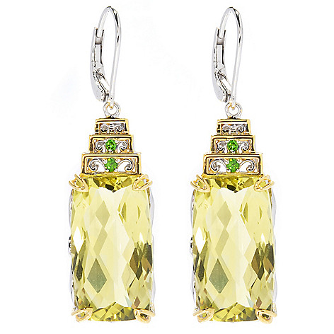 130-822 - Gems en Vogue II 1.5'' 19.34ctw Ouro Verde & Chrome Diopside Drop Earrings