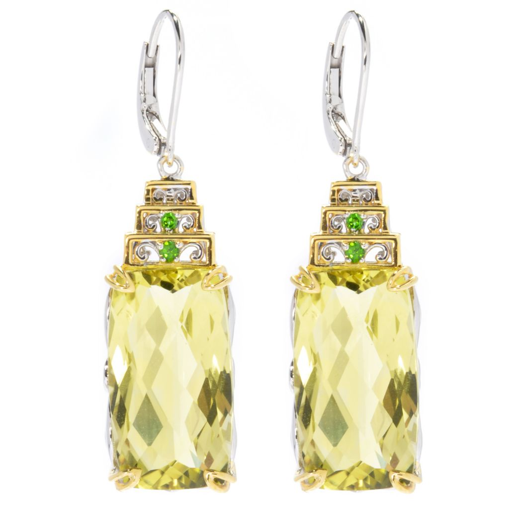 "130-822 - Gems en Vogue 1.5"" 19.34ctw Ouro Verde & Chrome Diopside Drop Earrings"