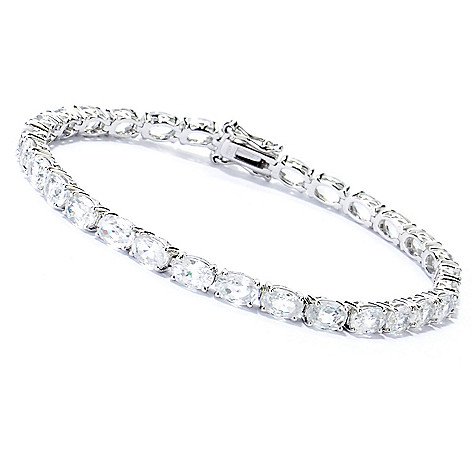 130-835 - Gem Treasures® Sterling Silver Zircon Tennis Bracelet