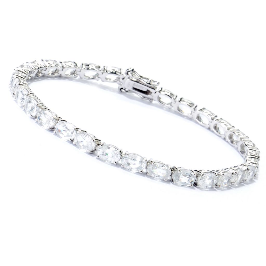 130-835 - Gem Treasures Sterling Silver Zircon Tennis Bracelet