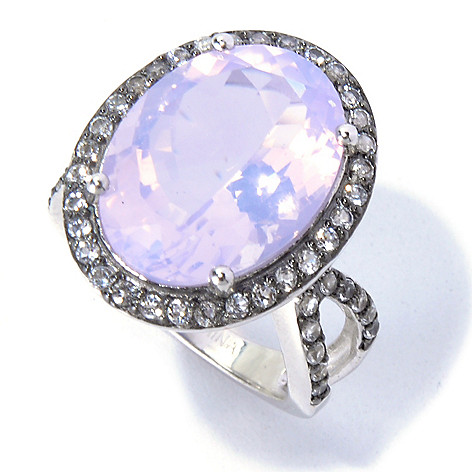 130-836 - Gem Treasures Sterling Silver 18 x 13mm Lavender Quartz & White Topaz Ring