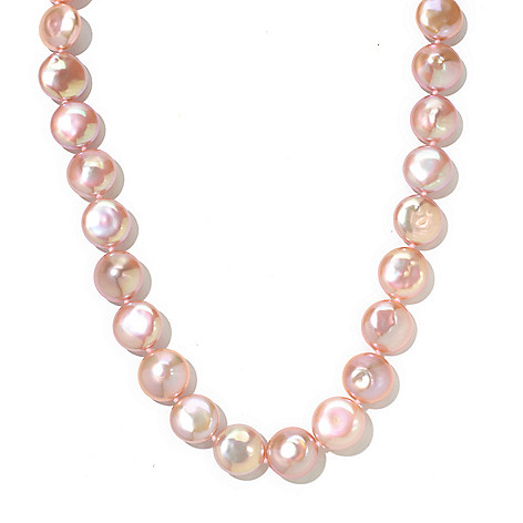 130-849 - 14K Gold 18'' 12-13mm Natural Pink Freshwater Cultured Pearl Coin Necklace