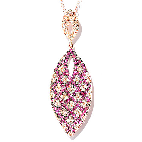 130-854 - Brilliante® Gold Embraced™ 2.11 DEW White & Pink Simulated Diamond Marquise Pendant
