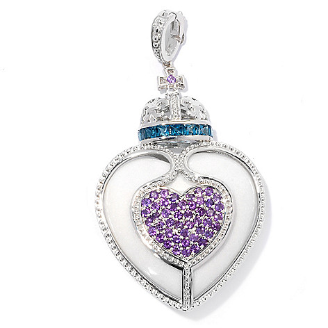 130-856 - Dallas Prince Designs Sterling Silver 34mm Heart Shaped Agate, Topaz & Amethyst Enhancer