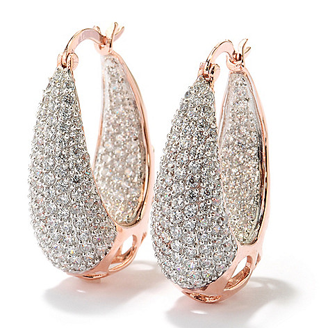 130-867 - Sonia Bitton 1.25'' 3.99 DEW Simulated Diamond Pave Inside-Out Oval Hoop Earrings