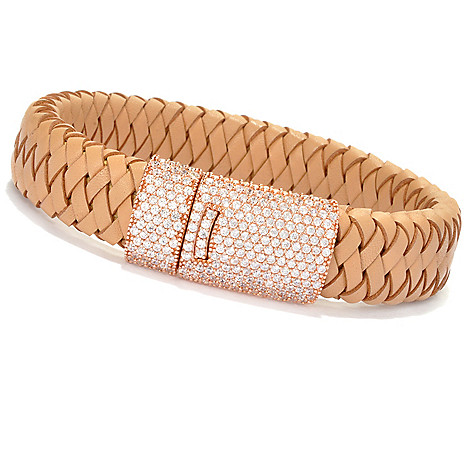 130-871 - Sonia Bitton 2.44 DEW Pave Set Simulated Diamond Braided Leather Bracelet