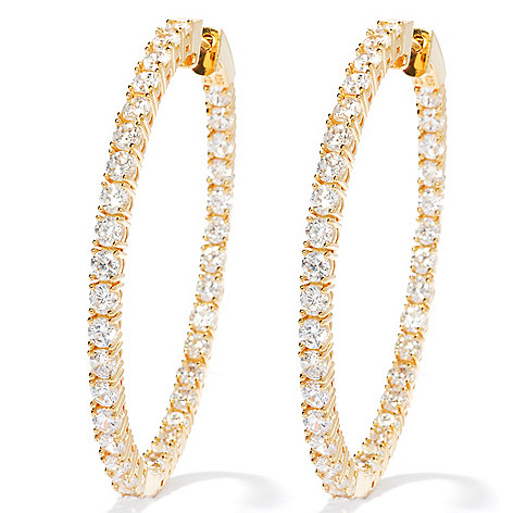 130-874 - Brilliante® 2'' 7.70 DEW Simulated Diamond Large Inside-Out Hoop Earrings