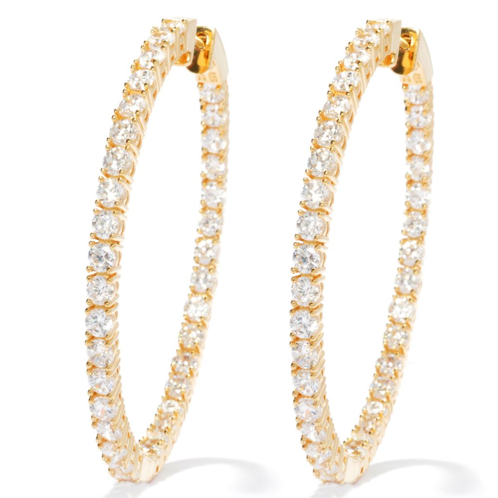 "130-874 - Brilliante® 2"" 7.70 DEW Simulated Diamond Large Inside-Out Hoop Earrings"