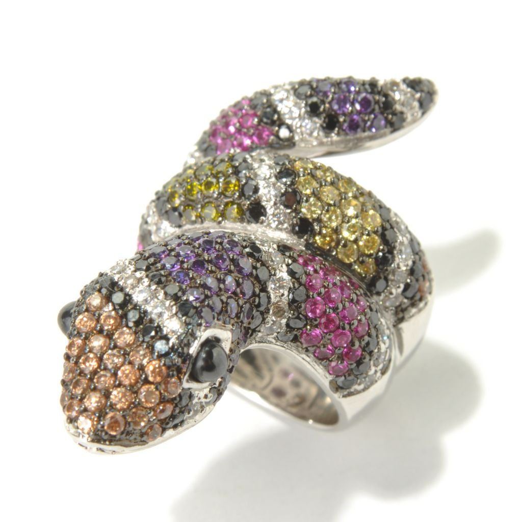 130-879 - Neda Behnam Platinum Embraced™ 4.86 DEW Multi Color Simulated Diamond Snake Ring